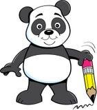 Karikaturpandabär, der einen Bleistift hält stock abbildung