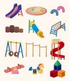 Karikaturpark-Spielplatzikone Stockbilder