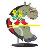 Karikaturpferd, das auf Stuhl mit Blumen 013 sitzt Stockbild