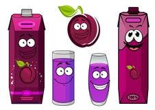 Karikaturpflaumen-Saftcharaktere für Lebensmittelsatz entwerfen Stockbild