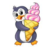 Karikaturpinguin mit Eiscreme Stockfotos