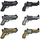 Karikaturpistolen- und -pistolenvektorikonen stock abbildung