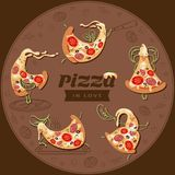 Karikaturpizza-Charakterscheiben Stellen Sie von fünf netten Liebhaberpizzas ein stock abbildung