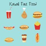 Karikaturpizzascheiben, Kartoffel, Sandwich, Süßigkeiten, Schaumgummiringe Fastfoodmode-Vektorillustrationen stock abbildung