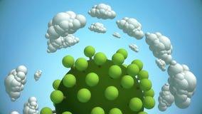 Karikaturplanet mit Baum- und Fliegenwolken stock footage