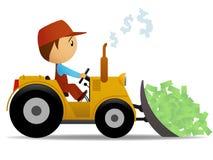 Karikaturplanierraupe, die das Geld verschiebt Lizenzfreies Stockfoto