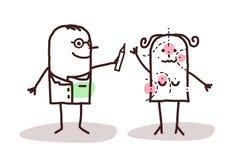 Karikaturplastischer chirurg mit Patienten Stockbild