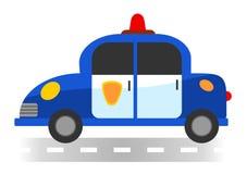 Karikaturpolizeiwagen auf weißem Hintergrund stockfotos