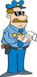 Karikaturpolizist, der eine Karte schreibt Lizenzfreies Stockbild