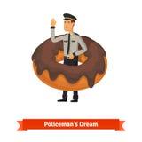 Karikaturpolizist im Donuttraumkonzept Lizenzfreies Stockfoto