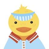 Karikaturporträt eines Entleins Stilisierte glückliche Ente in einer Kappe Zeichnen für Kinder Vektorillustration für einen Gruß Lizenzfreies Stockbild