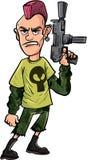 Karikaturpunk mit Maschinengewehr Stockfotos