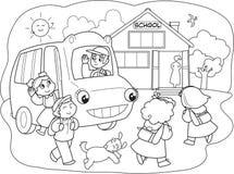 Karikaturpupillen auf schoolbus Stockfoto