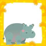Karikaturrahmenszene - Flusspferd Stockfoto