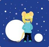 Karikaturratte im Winteroverall unter dem Schnee Jahr der Ratte Chinesisches Horoskop Sch?nheitsmaus vektor abbildung