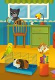 Karikaturraum mit Tieren - Illustration für die Kinder Stockfotografie
