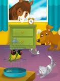 Karikaturraum mit Tieren - Illustration für die Kinder Stockfotos