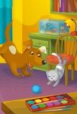 Karikaturraum mit Tieren - Illustration für die Kinder Lizenzfreies Stockfoto