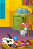 Karikaturraum mit Tieren - Illustration für die Kinder Lizenzfreie Stockbilder