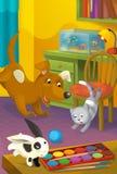 Karikaturraum mit Tieren - Illustration für die Kinder Lizenzfreie Stockfotos