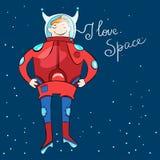 Karikaturraumfahrer im Weltraum Stockfotografie