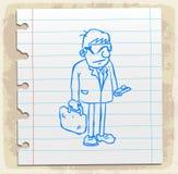 Karikaturrechtsanwalt auf Papieranmerkung, Vektorillustration Lizenzfreies Stockfoto
