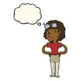 Karikaturretro- Versuchsfrau mit Gedankenblase Stockfoto