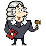 Karikatur-Richter mit einem Hammer und einem Gesetzbuch Stockfotos