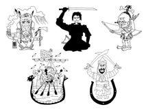 Karikaturritter und -Krieger Stockfotos