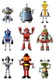 Karikaturroboter-Ikonenset Stockbild