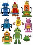 Karikaturroboter-Ikonenset Stockbilder