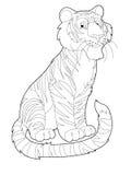 Karikatursafari - Farbtonseite - Illustration für die Kinder Stockbild