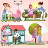 Karikatursatz des glücklichen lesbischen Paargehens lizenzfreie abbildung