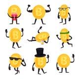 Karikatursatz goldene Münzencharaktere mit bitcoin unterzeichnen herein verschiedene Aktionen Cryptocurrency oder virtuelles Geld lizenzfreie abbildung