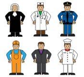 Karikatursatz Leute von verschiedenen Berufen Stockfotos