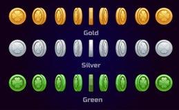 Karikatursatz Metall und grüne Münzen Lizenzfreie Stockfotografie