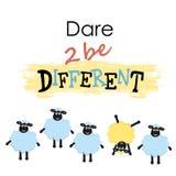 Karikaturschafe, ein Schaf, das zu anderem unterschiedlich ist, sind unterschiedlich vektor abbildung