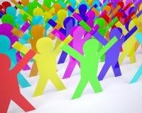 Karikaturschattenbild vieler Leute gefärbt Stockfotografie
