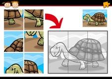 Karikaturschildkröten-Laubsägenrätselspiel Stockfotos