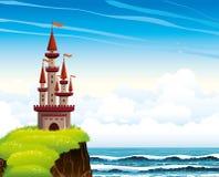 Karikaturschloss, das auf einer Klippe auf einem lue Meer und einem Himmel steht.