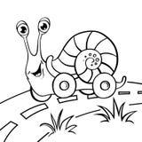 Karikaturschnecke auf Rädern Stockbild