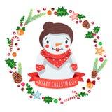 Karikaturschneefrau der frohen Weihnachten herein mit Weihnachtskranz-Vektorkarte Stockbilder