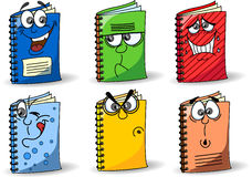 Karikaturschulenotizbücher, Vektor Stockbild
