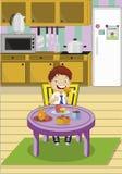 Karikaturschuljunge, der das Mittagessen sitzt am Tisch auf Küche isst Auch im corel abgehobenen Betrag stock abbildung