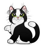 Karikaturschwarzweiss-Katze Stockfoto
