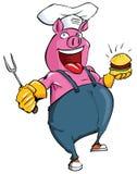 Karikaturschwein, das einen BBQ habing ist Stockfotos