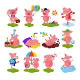 Karikaturschwein-Vektorferkel oder piggy Charakter auf Geburtstag und rosa piggy-wiggy Spielen im schweinischen Satz der Pfützeni lizenzfreie abbildung