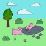 Karikaturschweinaufkleber Lizenzfreie Stockfotografie