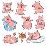 Karikaturschweine stock abbildung