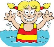 Karikaturschwimmenmädchen Lizenzfreie Stockfotografie